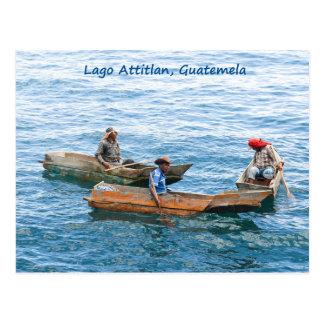 Lago Atitlan fishermen on the lake postcard
