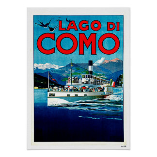 Lago di Como Lake Italy Vintage Travel Poster