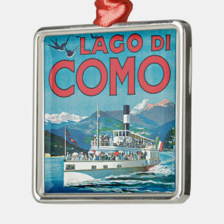Lago di Como Silver-Colored Square Decoration