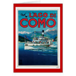 """Lago di Como"" Vintage Italian Travel Poster Greeting Card"