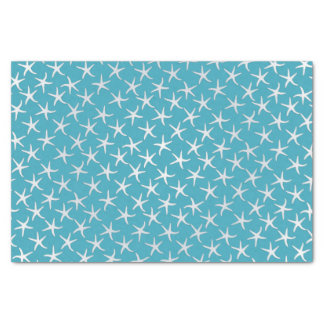 "Lagoon Blue Starfish Pattern Tissue Paper 10"" X 15"" Tissue Paper"