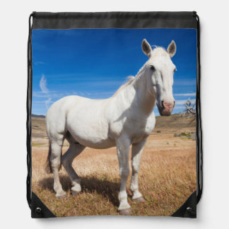 Laguna Azul, landscape with horses Drawstring Backpack