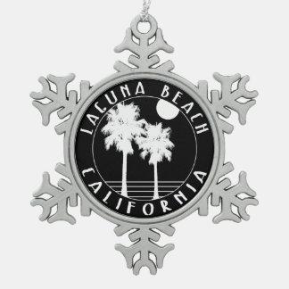 Laguna Beach California Snowflake Pewter Christmas Ornament