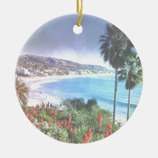 Laguna Beach California,soft eff. Round Ceramic Decoration