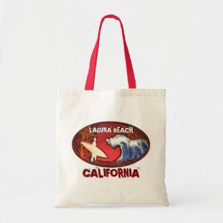Laguna Beach California surfer art reusable bag