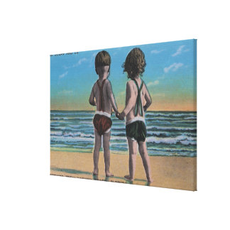 Laguna Beach, FL - Greetings From Scene w/ Kids Gallery Wrapped Canvas
