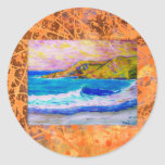 laguna beach splash drip round stickers