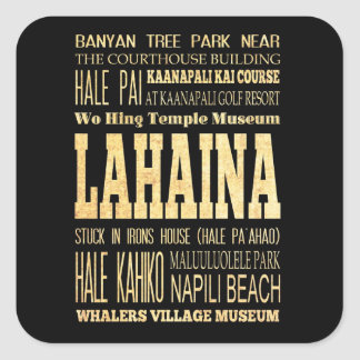 Lahaina City of Hawaii Typography Art Square Sticker