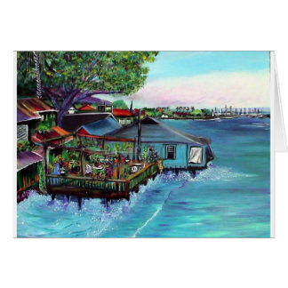 Lahaina Maui~ Fish company painting Greeting Card