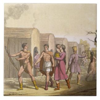 Lahoutan Indians, Canada (colour engraving) Large Square Tile