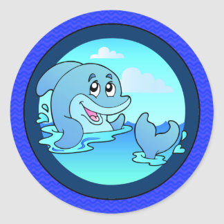 Laid Back Happy Dolphin Round Sticker