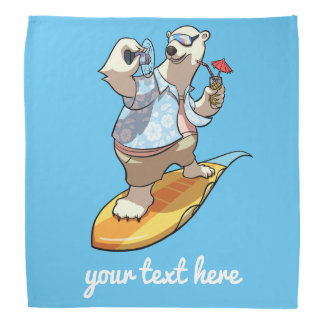 Laid Back Polar Bear Surfer Cartoon With Caption Bandana