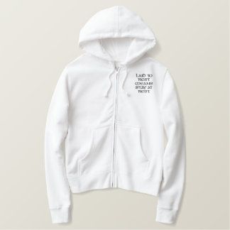 LAID TO REST MEANS STAY AT REST RETURN THE GUARDIA EMBROIDERED LADIES ZIPPED HOODIE