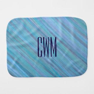 Laidback Baby | Monogram Turquoise Aqua Blue | Burp Cloth