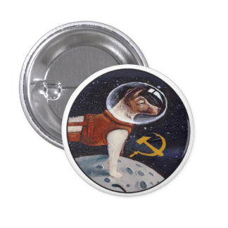 Laika - the first dog in space 3 cm round badge