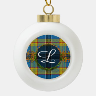 Laing Tartan And Monogram Ceramic Ball Christmas Ornament