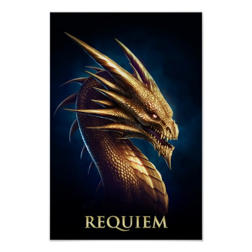 """""""Laira"""" Gold Dragon of Requiem Poster"""