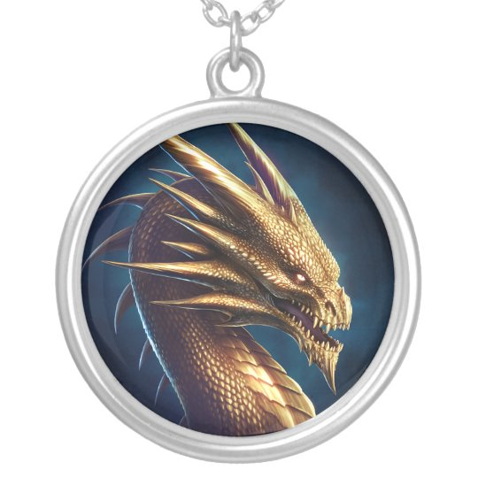 """""""Laira"""" Gold Dragon Silver Plated Necklace"""
