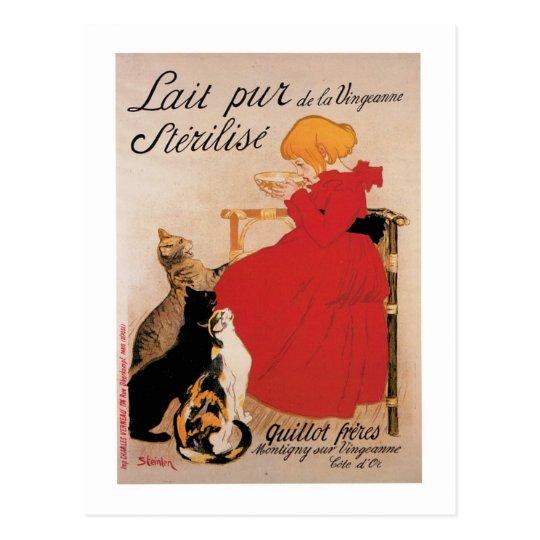 Lait Pur De La Uingeanne Vintage Drink Ad Art Postcard