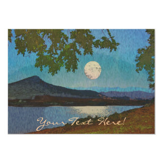 Lake and Moon Reflections 13 Cm X 18 Cm Invitation Card