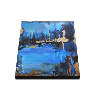 Lake at Night Painting Blue Turquoise Gold Brown Stretched Canvas Print