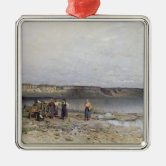 Lake Balaton with the Shore of Akarattya, 1885 Silver-Colored Square Decoration