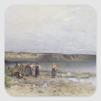 Lake Balaton with the Shore of Akarattya, 1885 Square Sticker
