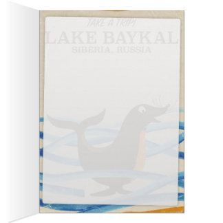 lake Baykal seal Vintage travel poster Card