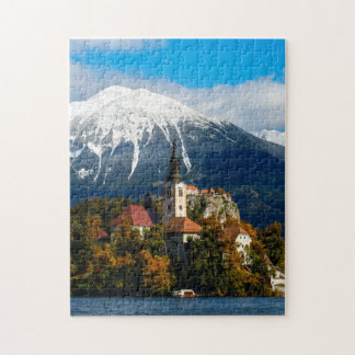 Lake Bled landscape in autumn Jigsaw Puzzle