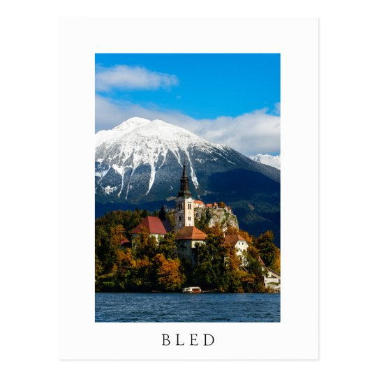 Lake Bled landscape in autumn Postcard