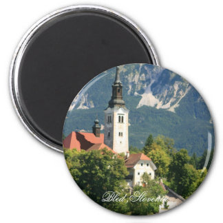 Lake Bled ,Slovenia 6 Cm Round Magnet