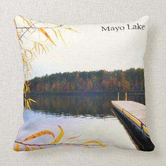 Lake Boat Dock in Autumn Cushion