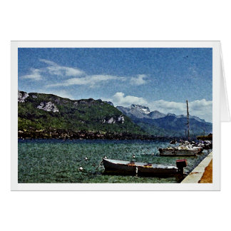 Lake Boats and Mountains in Annecy France Card