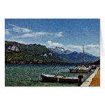 Lake Boats and Mountains in Annecy France Cards