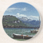 Lake Boats and Mountains in Annecy France Coasters