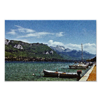 Lake Boats and Mountains in Annecy France Photo Print