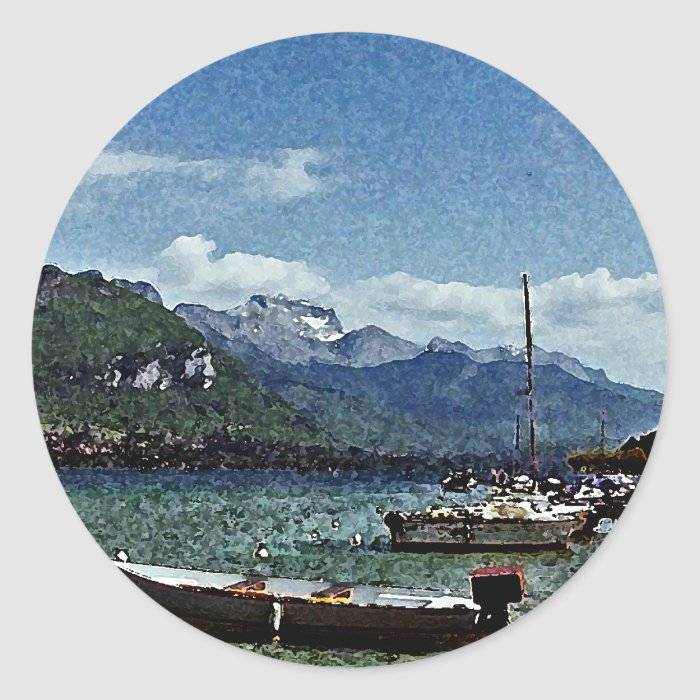 Lake Boats and Mountains in Annecy France Round Sticker