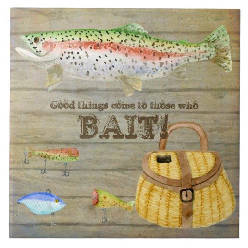 Lake Cabin Trout Fishing Creel Lures Vintage Ceramic Tiles