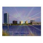 Lake Charles, LA Skyline with Sunburst Post Cards