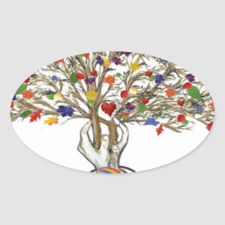 Lake Charles Pride Tree Oval Sticker