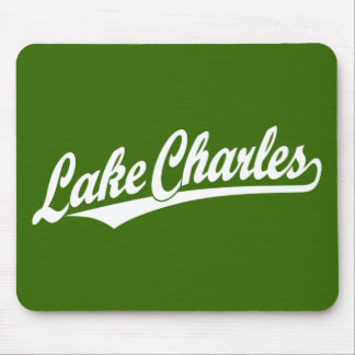 Lake Charles script logo in white Mouse Pad