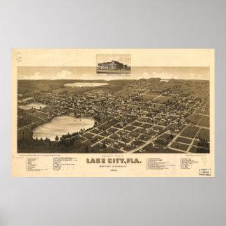 Lake City Florida 1885 Antique Panoramic Map Print