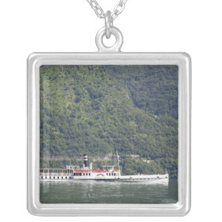 Lake Como, ferry boat Silver Plated Necklace