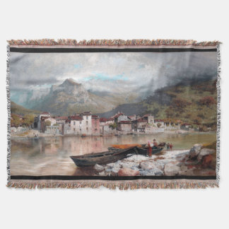 Lake Como Italy Boats Mountains Throw Blanket