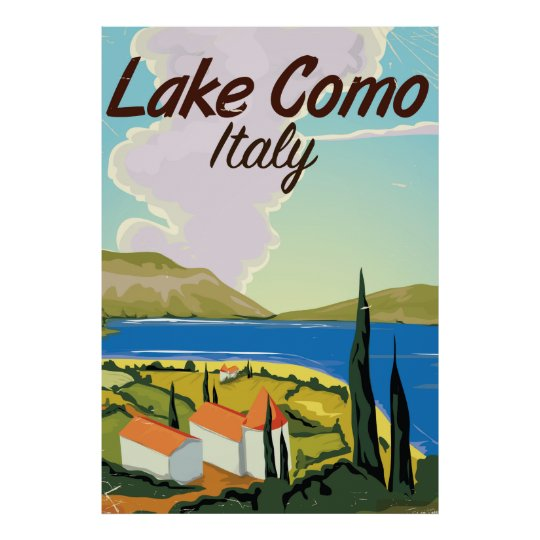 Lake Como Italy travel poster. Poster