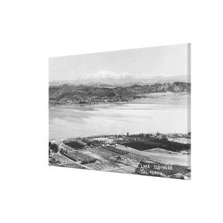 Lake Elsinore, CA Aerial Town and Lake View Canvas Print