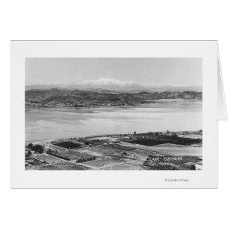 Lake Elsinore, CA Aerial Town and Lake View Card