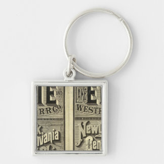 Lake Erie and Western Railroad Silver-Colored Square Key Ring