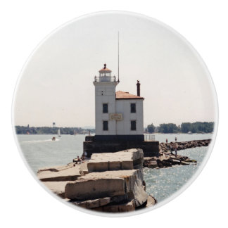 Lake Erie Lighthouse Ceramic Knob