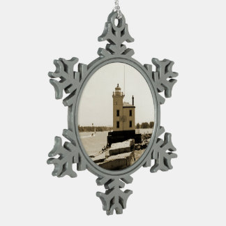 Lake Erie Lighthouse Snowflake Pewter Christmas Ornament